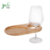Mini-Oval Party Plate with Built-in Stemware Holder Made From Bamboo