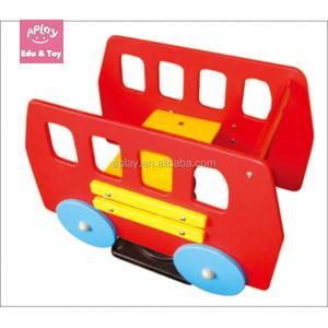 Spring rider PE board kids bus toy outside playground rocker