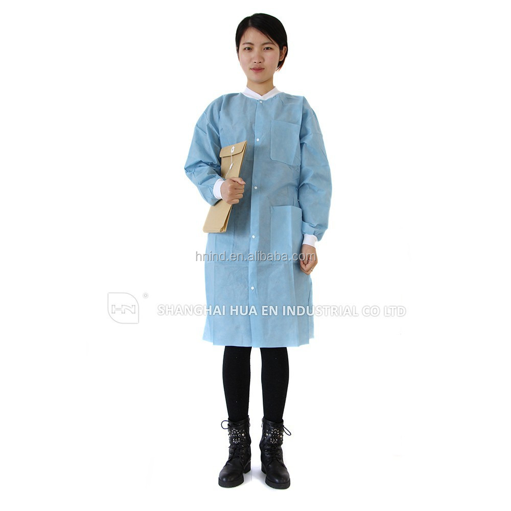 medical disposable Blank cotton fabric unisex 3pocket lab coats in long sleeve with knitted cuff and collar