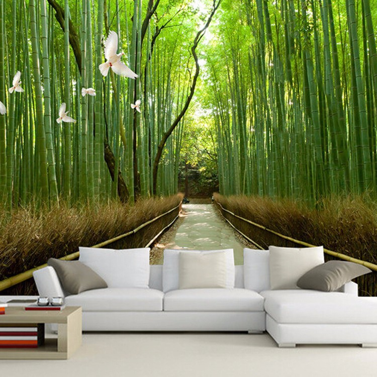 Wholesale natural club restaurant home hot sexy girl for Bamboo wall mural wallpaper