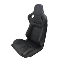 All Black PVC Leather Black Stitch Racing Seat With Rails Race Car Seats JBR1053