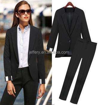 Women Black Long Pants Suits Office Formal Wear Suits Professional ...