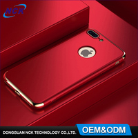 Newest custom logo 3 in 1 electroplating pc 360 degree cell phone case for iphone 6 7 plus