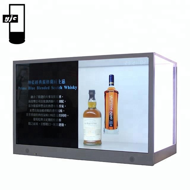 "28""32""42"" lcd transparent advertising display box/new design transparent lcd screen/multi-media touch screen network/standalone"