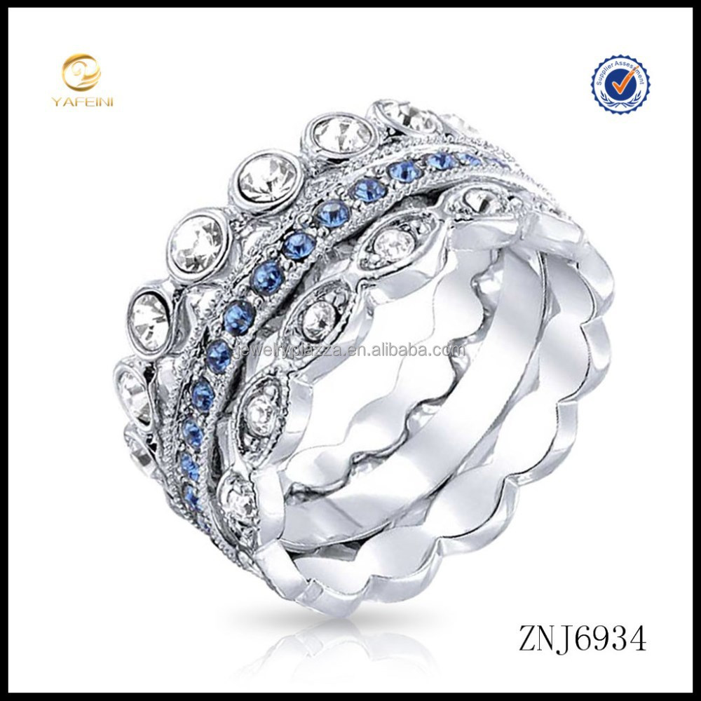 New arrival 925 sterling silver blue sapphire swing stackable rings