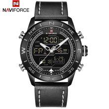 NAVIFORCE 9144 модные золотые мужские спортивные часы, мужские светодиодные аналоговые цифровые часы, армейские военные кожаные кварцевые часы, м...(Китай)