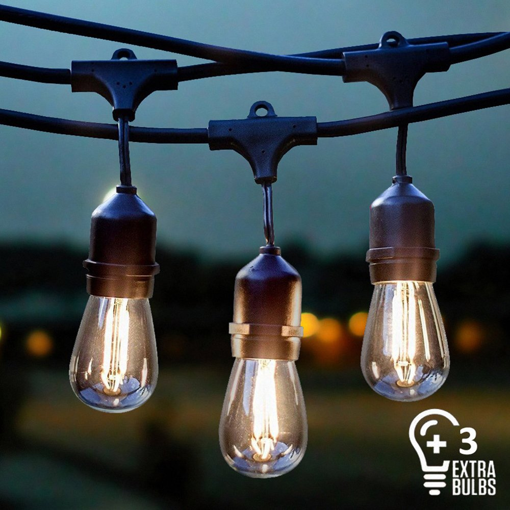 38ac31d4dc49d7 Get Quotations · Vintage Outdoor String Lights Kit, 2W S14 LED Filament  Bulbs Included, 48Ft Long Garden