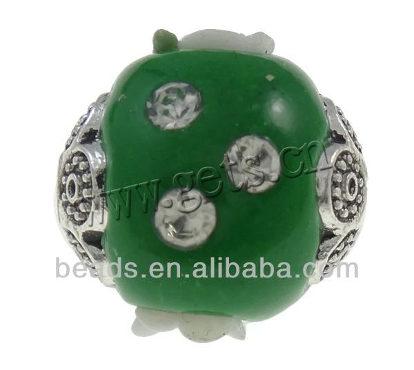 Indonesia, 14x14mm green 14mm resin bead