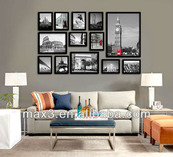 Wall Picture Frame Set monochrome modern painting hall gallery frame set 10pcs a set on