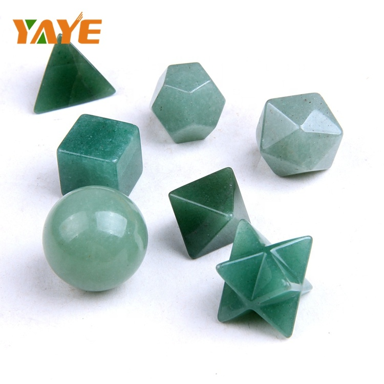 Factory Supply Natural Tumbled Green Aventurine Carved Sacred Geometry & Platonic Solids with Merkaba Star : 7 Chakra Stones