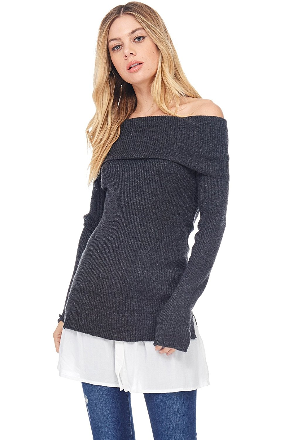 abd1ac998070 Get Quotations · Alexander + David Womens Casual Off The Shoulder Knit  Sweater Tunic Top