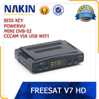 Genuine Freesat V7 mini suporte bisskey powervu receptor de tv por satélite dvb s2 cccam usb wifi Freesat HD V7