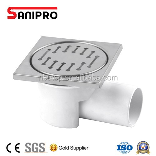Modern square bathroom floor drain with removable strainer