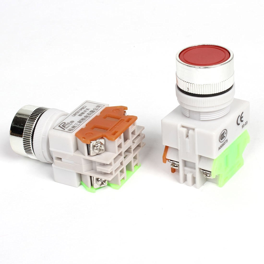 24mm Panel Mounted Self-Locking Red Mushroom Push Button Switch 660VAC 10A DPST
