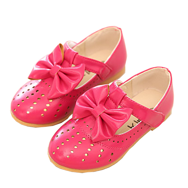 Size26-30 autumn school style 2015 girls leather shoes Princess solid color hollow big bowknot leather shoes children Black shoe
