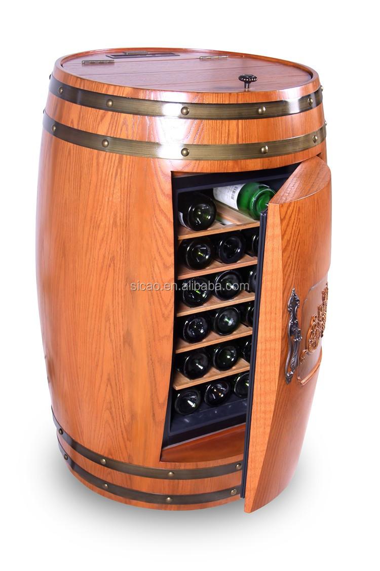 Oak Wood Wine Barrel Cabinet Fridge Innovative Furniture