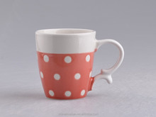2015 ceramic manufactuer 11oz red/pink crackle glaze fine porcelain coffee mugs with hand painted