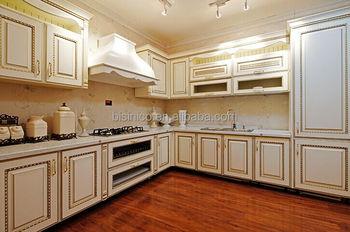 European Style Wooden Kitchen Cabinet Hand Carved Wood Kitchen