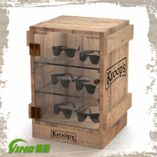 Sunglasses Eyewear Wooden Counter Display Stands Wood Display Cabinet