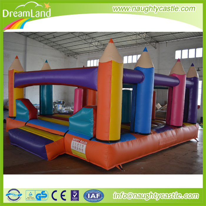 Customized Inflatable Pencil Bouncy Jumping, inflatable pencil bouncer combo, outdoor inflatIable castle for kids