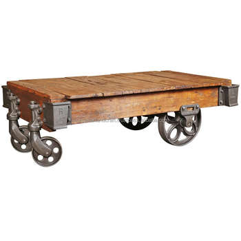 Vintage Industrial Antique Look Coffee Table Cart With Cast Iron Wheels And  Wooden Top