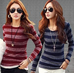 Latest ladies long sleeve tops casual t-shirt women new princess knitted blouse
