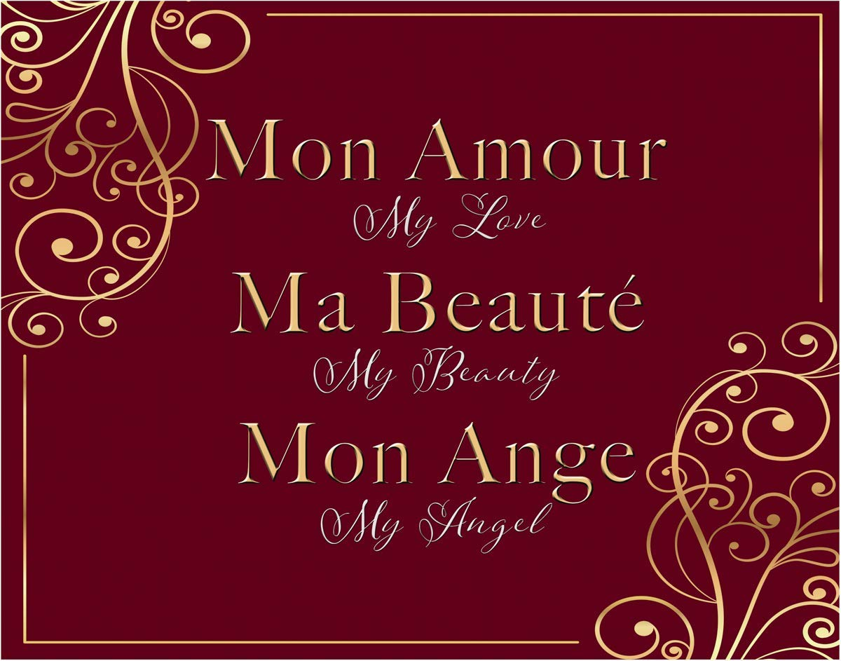 French - Mon Amour - My Love, My Beauty, My Angel Fine Art Print - 11x14 Unframed Photo Art - Gift for wife, mother, girlfriend. Perfect for a Dorm, Bathroom, Bedroom, School. Limited Intro Pricing