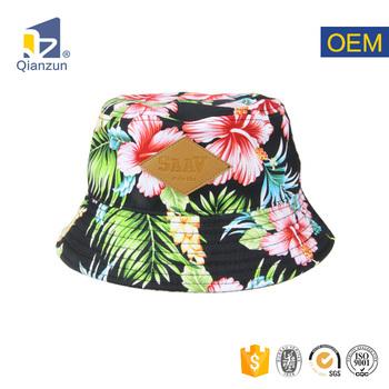 Tropical Flower Hawaiian Pattern Bucket Fitted Beach Floral Bucket Hat  cfef3b02ce5b