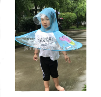 00ed83fb2f218 Hand free UFO hat umbrella Hot sale new design waterproof Windproof  material PVC kid creative print