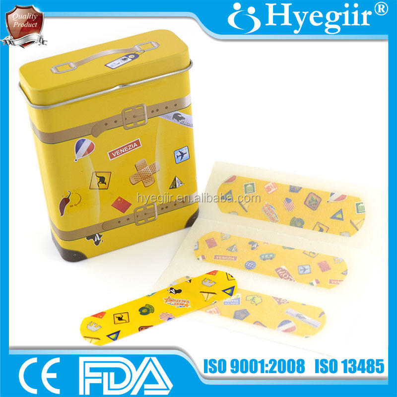 Sterile tin box packed band aid of 70*18mm or customized (CE and FDA certificated)