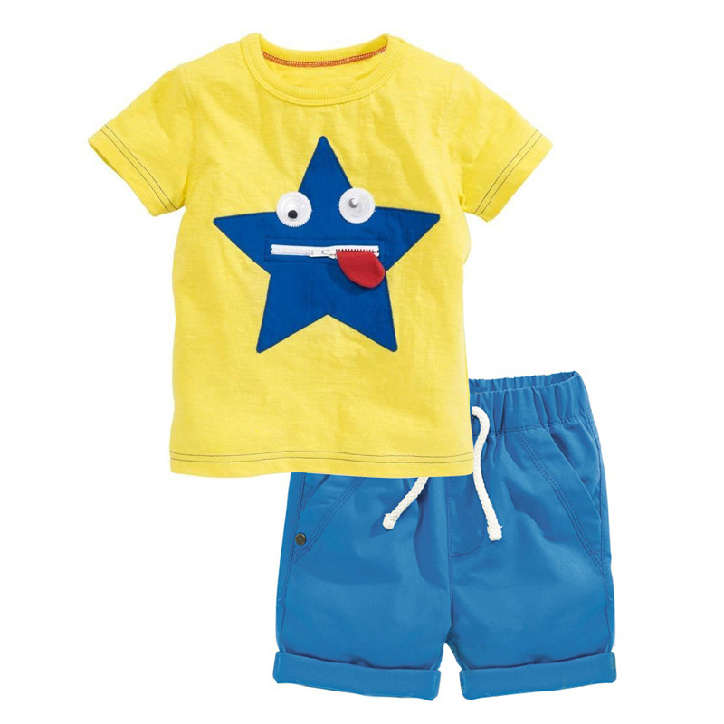 QX4253 The new pure cotton short sleeve T-shirt children suit The boy summer clothing set