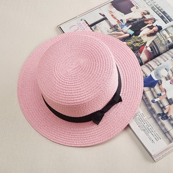7c8620049e0b9 Lady Boater sun caps Ribbon Round Flat Top Straw Fedora Panama summer women  snapback straw hat
