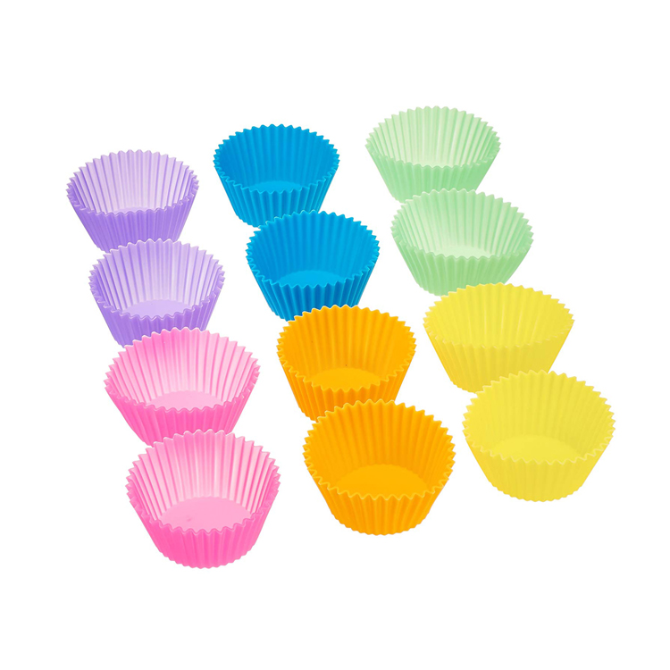 12pcs Home made cup shape baking silicone cake mould