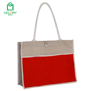 Wholesale customized color panel eco-friendly waterproof jute bag with front pockets