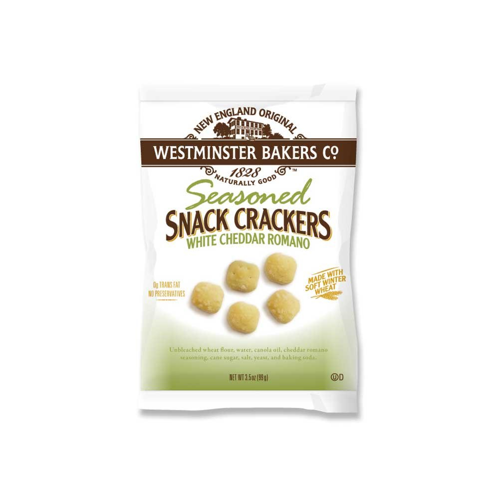 Westminster Cracker Cheddar Romano Oyster Crackers, 3.5 Ounce -- 24 per case.