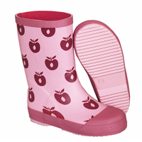 Girl's Apple Printed Pink Waterproof Rubber Rain Boots