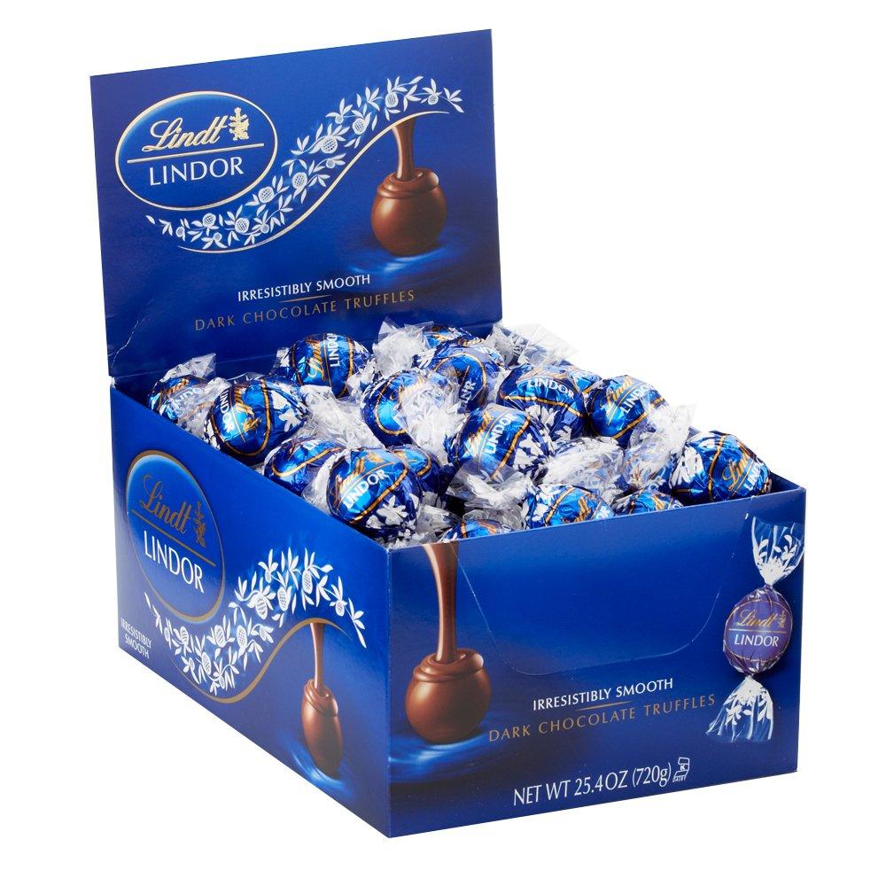Lindt LINDOR Dark Chocolate Truffles, 60 Count Box,25.4 oz