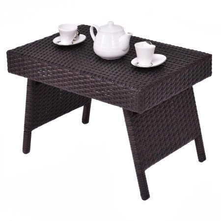 Mix Brown Folding Rattan Side Coffee Table Patio Garden Outdoor Furniture