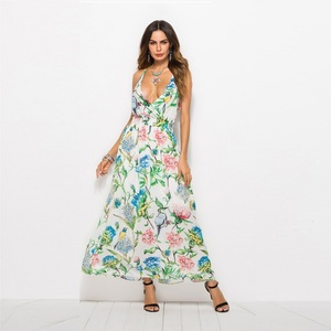 New style floral chiffon print long maxi ladies casual dress