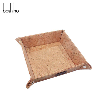 Boshiho cork fabric coin tray jewelry organizer key tray for desktop storage