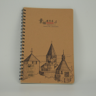 Wholesale custom cover A5 recycled kraft paper diary spiral notebook printing