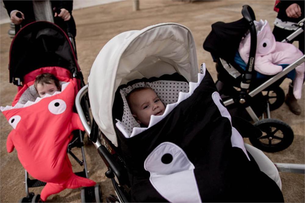 Cartoon Shark Sleeping Bag Baby Sleeping Sack Winter Strollers Bed - Sleeping bag shark