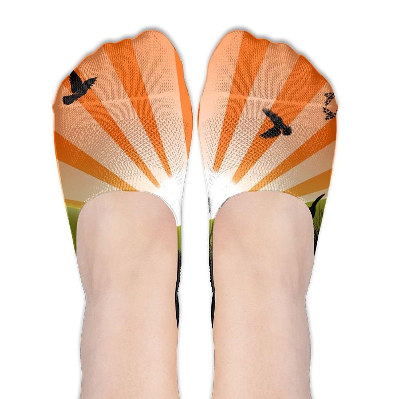 f451b9205d5b9 Get Quotations · Sunset Grass Trees No Show Socks Liner Socks Low Cut Ped  Socks Boat Shoe Liners For