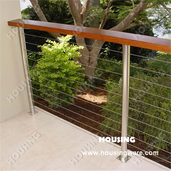 wire balustrade cable railing with stainless steel post or wood post buy stainless steel. Black Bedroom Furniture Sets. Home Design Ideas