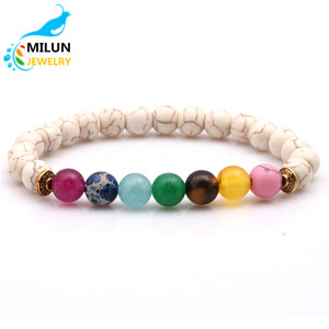 Wholesale alibaba cheap items sell bracelets customized logo 8mm Natural stone Beads7 chakra bracelet men
