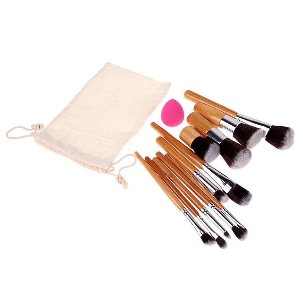 Chinatera Professional Makeup Brush Set 11PCS Eyebrow Shadow Blush Cosmetic Foundation Brushes Tool Kit with Flawless Makeup Sponge Puff