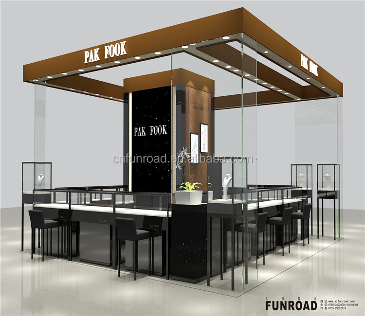 retail wood and glass interior decoration furniture display counter gold jewelry kiosk in mall design with light