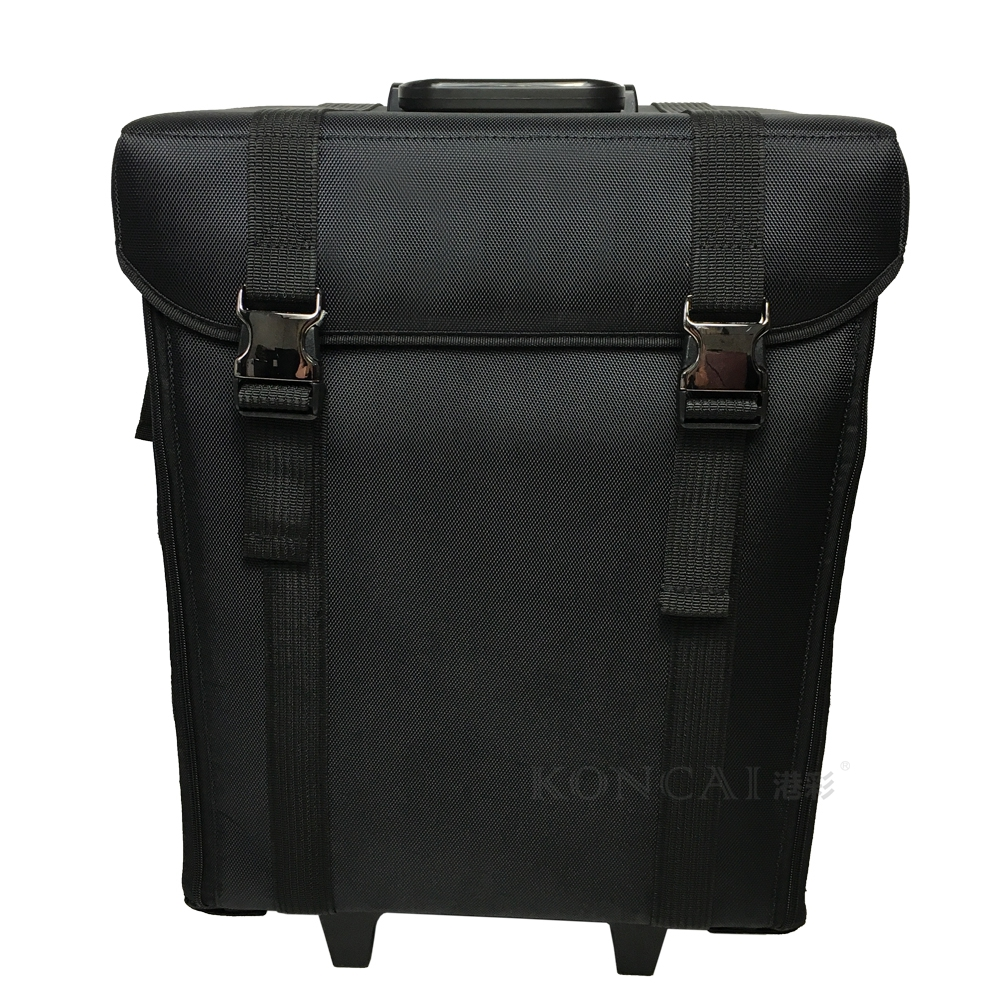 Professional Large Cosmetic Bags With Compartments Nylon Makeup Case Rolling Bottom