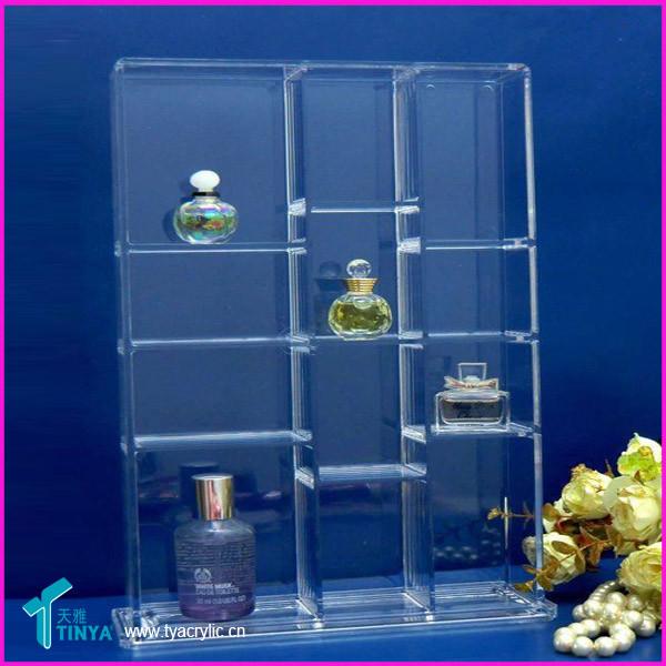 Groothandel 3-delige Deluxe vitrinekast Vitrine glazen flessen Display vloerstandaard Whisky-displays Acryl wijndisplay Rack