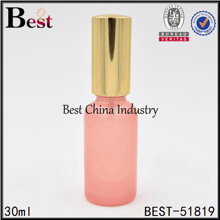customized pink gold spray pump essential oil bottle 30ml cosmetic glass bottle